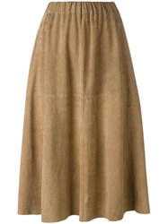 Tomas Maier Full Leather Skirt Nude Neutrals