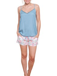 Cyberjammies Olivia Floral Camisole And Short Set Pink Aqua
