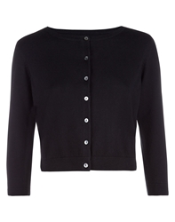 Havren Cropped Crew Neck Cardigan Black