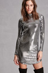 Forever 21 Mirrored Sequin Dress Silver