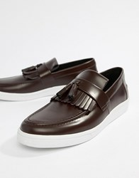 Fred Perry George Cox Tassle Leather Contrast Sole Loafers In Oxblood Red