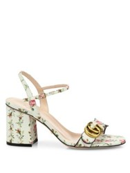 Gucci Marmont Gg Floral Print Leather Sandals Ivory Multi