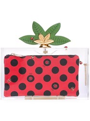 Charlotte Olympia 'Lucky Pandora' Embellished Perspex Clutch Women Plastic One Size Red