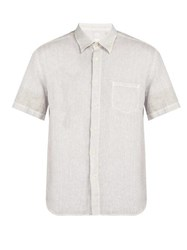 120 Lino Short Sleeved Linen Shirt Grey