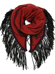 Antonia Zander Fringed Shawl Red