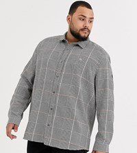 River Island Big And Tall Shirt In Light Gray Check