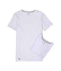 Lacoste Colours 2 Pack Crew Tee White Men's Underwear