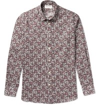 Saint Laurent Slim Fit Spread Collar Paisley Print Cotton Shirt Burgundy