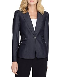Tahari By Arthur S. Levine One Button Blazer Denim Blue