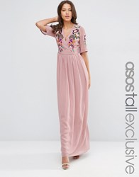 Asos Tall Premium Wrap Maxi Dress With Embroidery Maroon Red