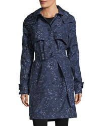 Hunter Star Print Belted Snap Front Trench Coat Constellation
