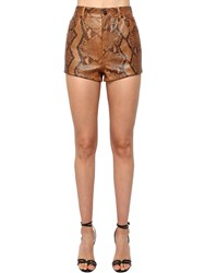 Saint Laurent Python High Waist Shorts Brown