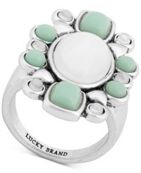 Lucky Brand Silver Tone Stone Statement Ring