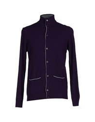 Brooksfield Knitwear Cardigans Men Dark Purple