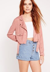 Missguided Faux Suede Biker Jacket Pink Red