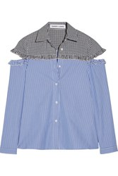 Sandy Liang Mercury Cutout Gingham Paneled Striped Cotton Shirt Blue