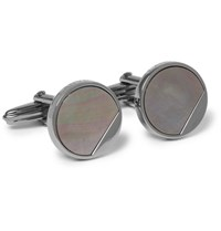 Lanvin Gunmetal Tone Mother Of Pearl Cufflinks Gunmetal