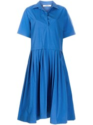 Odeeh Flared Pleated Dress Blue