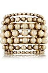 Erickson Beamon Stratosphere Gold Plated Faux Pearl Cuff