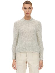 Isabel Marant Ivah Mohair Blend Knit Sweater Light Grey