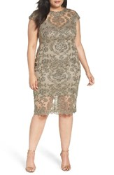 Tadashi Shoji Plus Size Women's Illusion Embroidered Sheath Dress