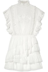 Ulla Johnson Holly Ruffled Lace Trimmed Cotton Voile Mini Dress White