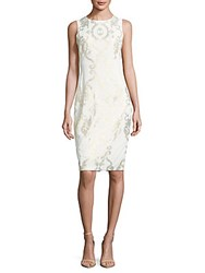 Jax Metallic Print Sheath Dress Pearl Gold