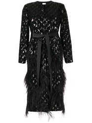 Huishan Zhang Evie Sequin Embroidery Feather Coat Black