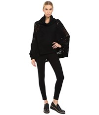 Yohji Yamamoto Holey Dolman Sleeve Turtleneck Poncho Sweater Black Women's Sweater