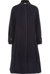 Carven Twill Trimmed Wool Blend Felt Coat Midnight Blue