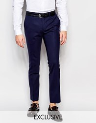 Heart And Dagger Wool Trousers In Super Skinny Fit Navy Blue