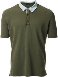 Roberto Collina 'Two Tone Military' Polo Shirt Green