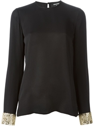 Dsquared2 Sequin Cuff Blouse Black