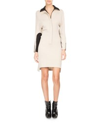 Atlein Bicolor Zip Front Polo Dress Taupe