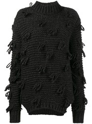 Simone Rocha Chunky Knitted Fringe Sweater Polyamide Alpaca Virgin Wool S Grey