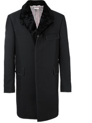 Thom Browne Collar Detail Single Breasted Coat Black