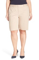 Plus Size Women's Sejour Stretch Twill Bermuda Shorts Tan Thread