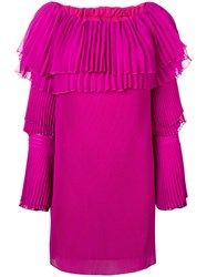 Capucci Off Shoulder Pleated Sweater Dress Pink And Purple