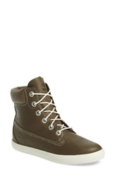 Timberland Women's Flannery Hidden Wedge Faux Fur Lined Boot Canteen Escape Leather