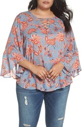 Wit And Wisdom Plus Size Lace Up Floral Top