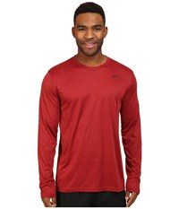 Nike Legend 2.0 Long Sleeve Tee Night Maroon Gym Red Black Men's T Shirt Brown