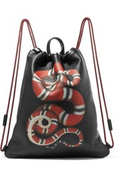 Gucci Merveilles Printed Textured Leather Backpack Black Gbp