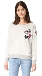 David Lerner Patches Pullover Light Heather Grey