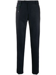 Berwich Micro Check Slim Fit Trousers Blue