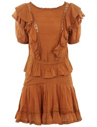 Etoile Isabel Marant Naoko Frill Dress In Amber Gold Yellow
