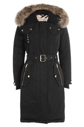 Burberry London Parka With Fur Trimmed Hood Black