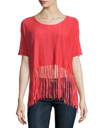 Minnie Rose Fringed Space Dye Crop Top Coral Combo