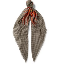 Gucci Printed Modal And Silk Blend Scarf Brown