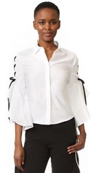 Jonathan Simkhai Lace Up Ruffle Sleeve Blouse White Black