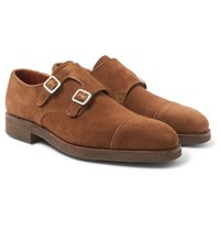 George Cleverley Thomas Suede Monk Strap Shoes Light Brown